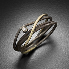 Galaxy Ring with Single Diamond by Randi Chervitz (Gold, Silver & Stone Ring)