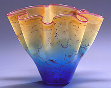 Gold & Blue Fluted Bowl by Curt Brock (Art Glass Bowl)
