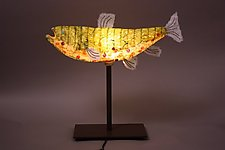 Spotted Trout Light Sculpture by Lara Fisher (Mixed-Media Lamp)
