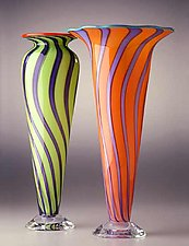 Cane Vase & Cone (1) by Ken Hanson and Ingrid Hanson (Art Glass Vase)