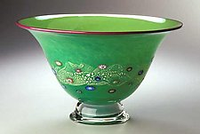 Emerald Blossom Bowl by Ken Hanson and Ingrid Hanson (Art Glass Bowl)