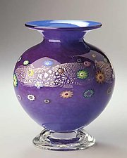 Delft & Ruby Blossom Vase by Ken Hanson and Ingrid Hanson (Art Glass Vase)