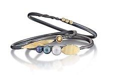 Black Pearl Bracelet Set by Christine Mackellar (Gold, Silver & Pearl Bracelet)