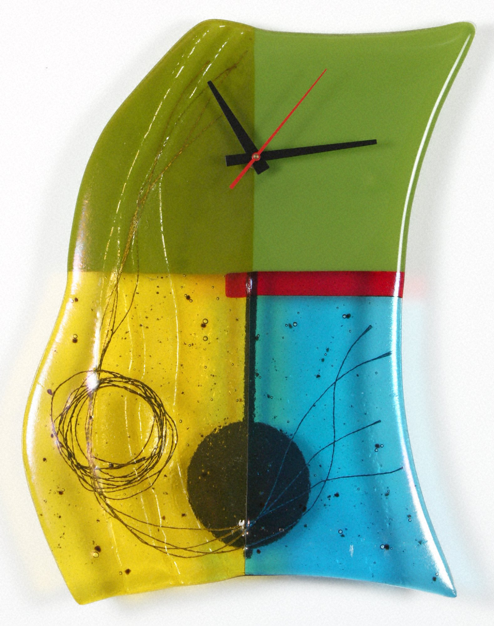 Mondrian Art Glass Pendulum Clock by Nina Cambron (Art Glass Clock ...