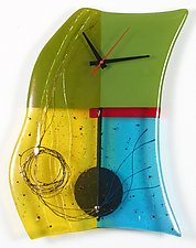 Mondrian Art Glass Pendulum Clock by Nina  Cambron (Art Glass Clock)