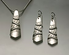 Pendant & Earrings (152B) by David Smallcombe (Silver Pendant & Earrings)