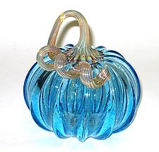Light Blue Pumpkin by Ken Hanson and Ingrid Hanson (Art Glass Sculpture)