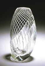 Twisted White Cane Vase by Mike Wallace (Art Glass Vase)