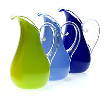 Opaque Curly Pitchers by Cal Breed (Art Glass Pitcher)