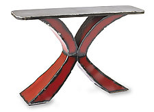 Steel Top X Console Table by Ben Gatski and Kate Gatski (Metal Console Table)