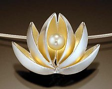 Lotus With Pearl Pendant by Thea Izzi (Silver, Gold & Pearl Pendant)