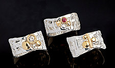 Woven Basket Rings, Diamond and More by Chi Cheng Lee (Gold, Silver, & Stone Ring)