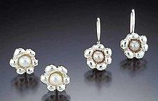 Miniature Flowers (Silver) by Kathleen Lynagh (Silver & Pearl Earrings)