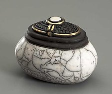 White Oval Jar by Candone Wharton (Ceramic Vessel)