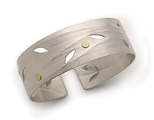Minimal Branch Cuff by Jamie Cassavoy (Silver & Diamond Bracelet)