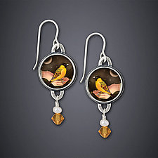 Bird In Hand Earrings by Dawn Estrin (Silver & Citrine Earrings)