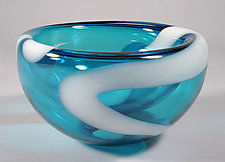 Turquoise Bubble Bowl by Cristy Aloysi and Scott Graham (Art Glass Bowl)