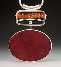 Red Pendant by Ayala Naphtali (Silver & Coconut Shell Pendant)