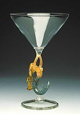 Mermaid Ascending (Blonde Martini) by Milon Townsend (Art Glass Goblet)