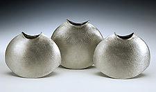 Wide-Mouthed Rocking Vases by Lisa Slovis (Pewter Vase)