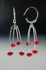 Red Disc Bead Earrings by Ayala Naphtali (Silver & Stone Earrings)