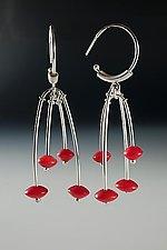 Red Disk Bead Earrings by Ayala Naphtali (Silver & Stone Earrings)