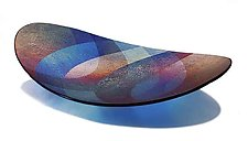Turquoise Echo Platter by Kathleen Ash (Art Glass Platter)