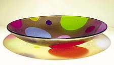 Dotware Bowl With Tan Background by Kathleen Ash (Art Glass Bowl)