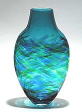Tall Flattened Vortex Vase: Blue by Michael Trimpol and Monique LaJeunesse (Art Glass Vase)
