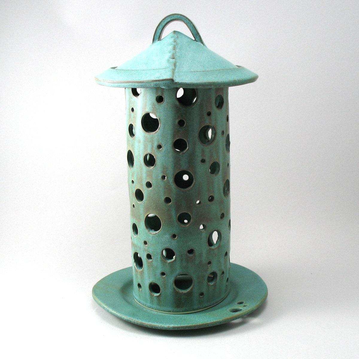 Green Garden Lantern By Cheryl Wolff Ceramic Candleholder