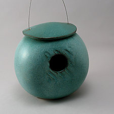 Kettle Birdhouse by Cheryl Wolff (Ceramic Birdhouse)