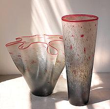 Gray & Smoke Fluted Bowl by Curt Brock (Art Glass Bowl)