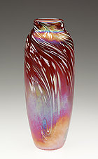 Red Powder Feathered Vase by Mark Rosenbaum (Art Glass Vase)