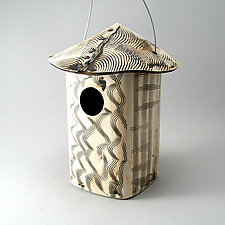 Textured Stoneware Bird House by Cheryl Wolff (Ceramic Birdhouse)