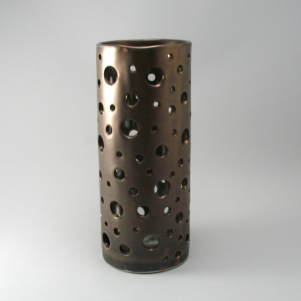 bubble vase in bronze finish by cheryl wolff (ceramic vase  - available in extended sizes