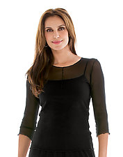 3/4 Sleeve Essential Mesh Layering Tee by Cynthia Ashby (Knit Top)