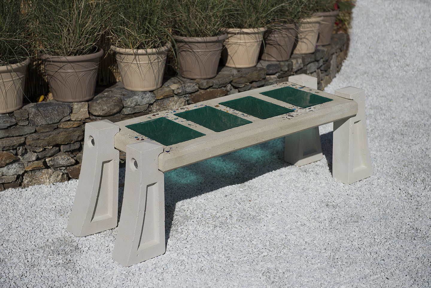 Skylight Bench In Aqua By Terence S Dubreuil Concrete Art Glass Bench Artful Home