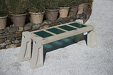 Skylight Bench in Aqua by Terence S. Dubreuil (Concrete & Art Glass Bench)