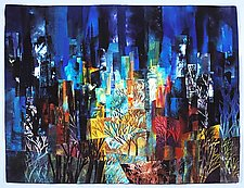 Central Park West Night IV by Linda Levin (Fiber Wall Hanging)