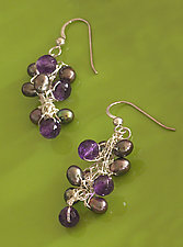 Crescendo Amethyst Earrings by Sharmen Liao (Silver, Amethyst & Pearl Earrings)