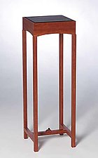 Deco Pedestal With Leather Top by Chris Horney (Wood Side Table)