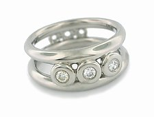 Prototype Double Band Ring in Palladium with Diamonds - Size 6.25 by Catherine Iskiw (Palladium & Stone Ring)