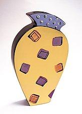 Purple & Orange Squares Vase by Diana Crain (Ceramic Wall Art)