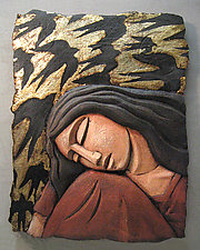 Sleeping Woman with Bird Screen by Steve Gardner (Ceramic Wall Sculpture)
