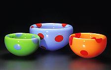 Orange & Diablo Red Small Dot Bubble Bowl by Cristy Aloysi and Scott Graham (Art Glass Bowl)