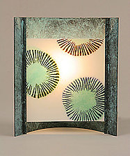Blue Burst by Joan Bazaz (Glass & Copper Table Lamp)