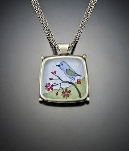 Bluebird Square Pendant Necklace
