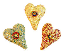 3 Itty Bitties by Laurie Pollpeter Eskenazi (Ceramic Wall Sculpture)