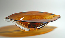 Oval Eye Platter: Amber by Suzanne Guttman (Art Glass Vessel)