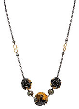 3 Bead Flora Necklace in Yellow Gold by Chihiro Makio (Gold & Silver Necklace)